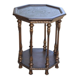 20th Century Italian Maitland Smith Octagon Carved Gold Brushed Table For Sale
