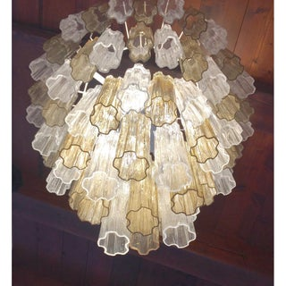 Italian Contemporary Amber & Crystal Clear Murano Glass Tronchi Star Chandelier Preview