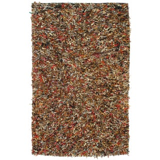 Handmade Multi Color Leather Decorative Shag Rug - 5′5″ × 8′6″ For Sale