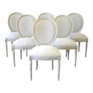 Vintage Mid-Century Louis XVI Style Upholstered Dining Chairs - Set of 6 For Sale