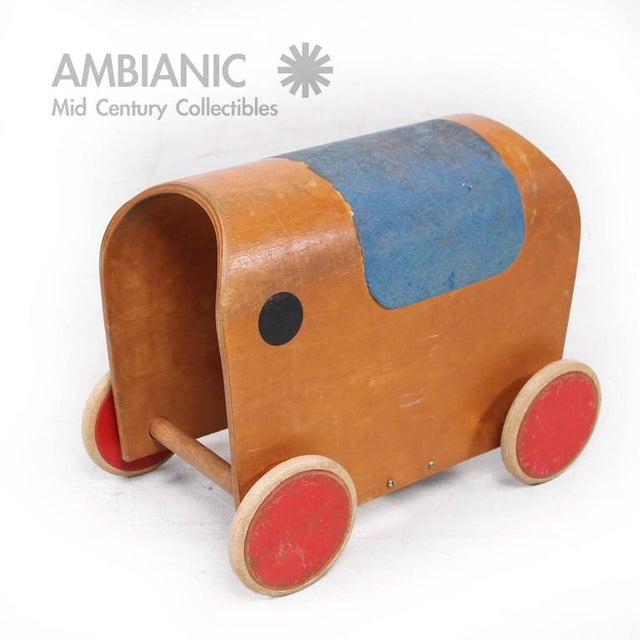 For your consideration a vintage toy car made in Europe no label present from the maker. Bent plywood with wood and rubber...