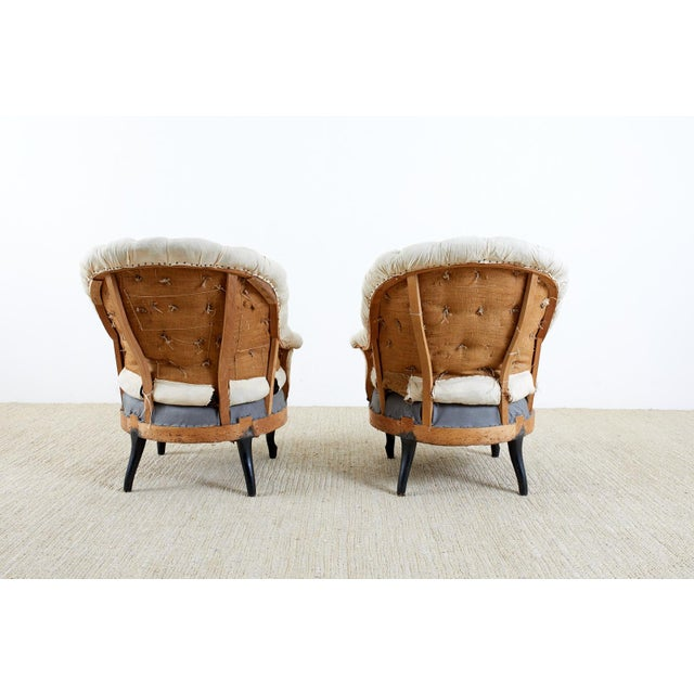 Pair of French Napoleon III Deconstructed Slipper Chairs For Sale - Image 12 of 13