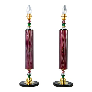 Etched Aubergine and Multi Color Murano Glass Table Lamps - a Pair For Sale