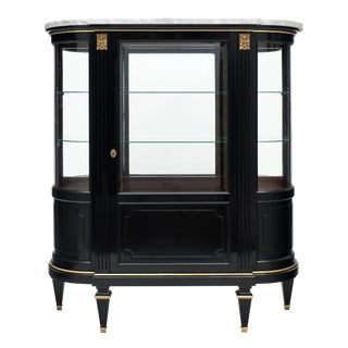 Louis XVI Style Antique Mahogany Argentier With Carrara Marble Top For Sale