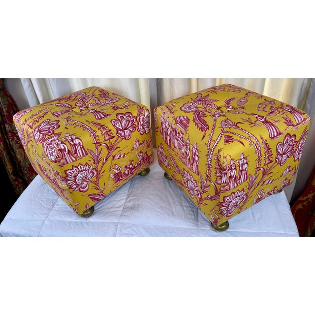 Late 20th Century Vintage Chinoiserie Pouf Footstools with Brass Feat - a Pair For Sale In Palm Springs - Image 6 of 10