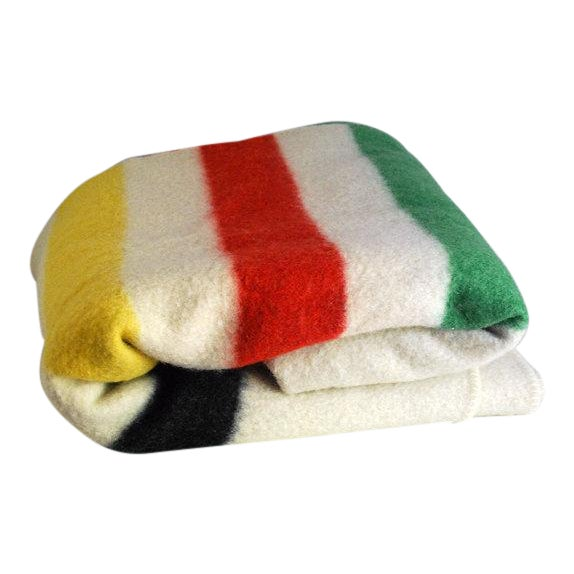 1940s Striped Wool Camp Blanket For Sale