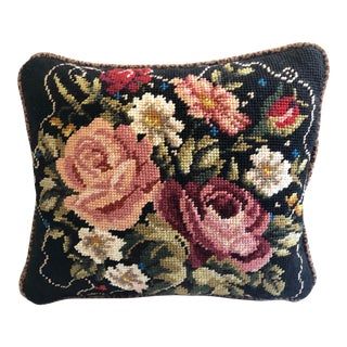 Vintage Persian Wool Needlepoint Floral and Leopard Velvet Feather Down Pillow, Textile Art For Sale