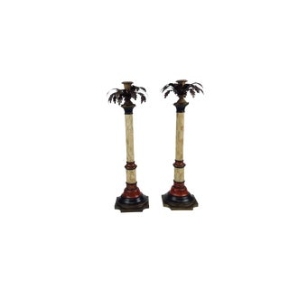 John Richard Antique Style Painted Leaf Accent Candlesticks - a Pair For Sale