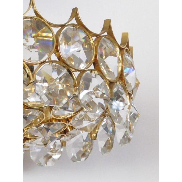 1960s 1960s Gaetano Sciolari for Palwa Gilt-Brass and Crystal 6-Light Pendant Chandelier For Sale - Image 5 of 11