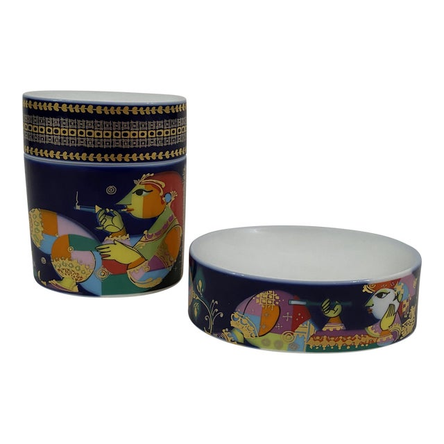 1980s Rosenthal Soap Dish and Covered Jar - 2 Pieces For Sale