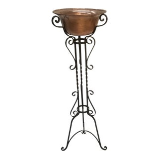 1940s Vintage Wrought Iron Plant Stand & Copper Bowl For Sale