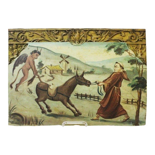 "Image of Late 18th Century ""Franciscan and the Devil"" Wood Carving"