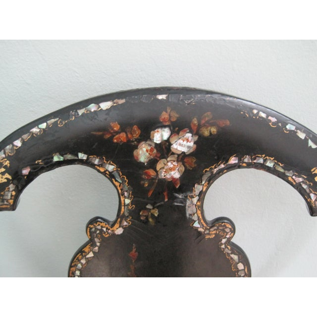 Mid 19th C. Victorian Mother of Pearl Inlay Papier Mache Chair For Sale - Image 4 of 11