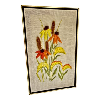 1970s Handmade Framed Embroidered Floral Wall Decor For Sale