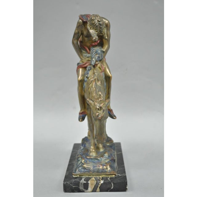 Mid-Century Modern Austrian Cold Painted Bronze End of Trail Statue Sculpture After James Fraser For Sale - Image 3 of 11