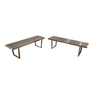 Pair of Vintage Chrome Metal Slat Benches For Sale
