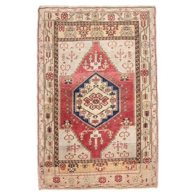 Textile 1960s Vintage One of a Kind Turkish Rug- 4′1″ × 6′ For Sale - Image 7 of 7