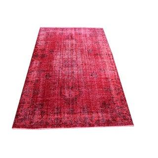 Overdyed Vintage Rug Red Carpet - 5'7'' x 8'8''