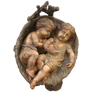 19th Century Traditional Terracotta Sculpture of Infants in Basket For Sale