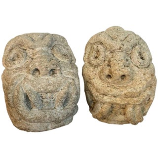 Two Carved Mayan Deity Limestone Architectural Carvings or Elements For Sale