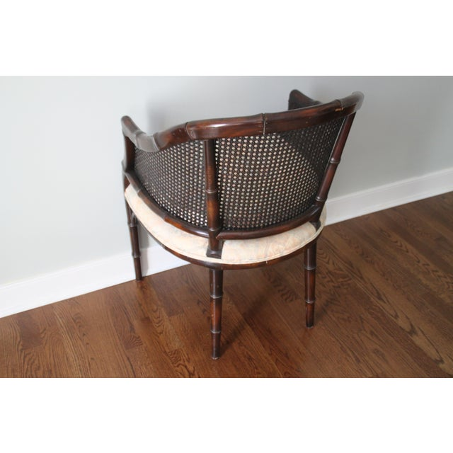 Faux Bamboo & Cane Barrel Back Chair For Sale In Richmond - Image 6 of 10