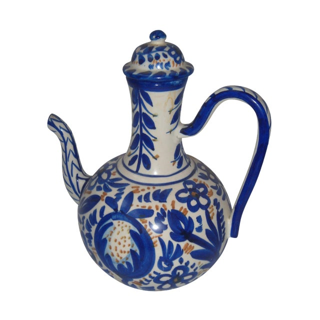 Blue & Gold Hand Painted Teapot - Image 1 of 9