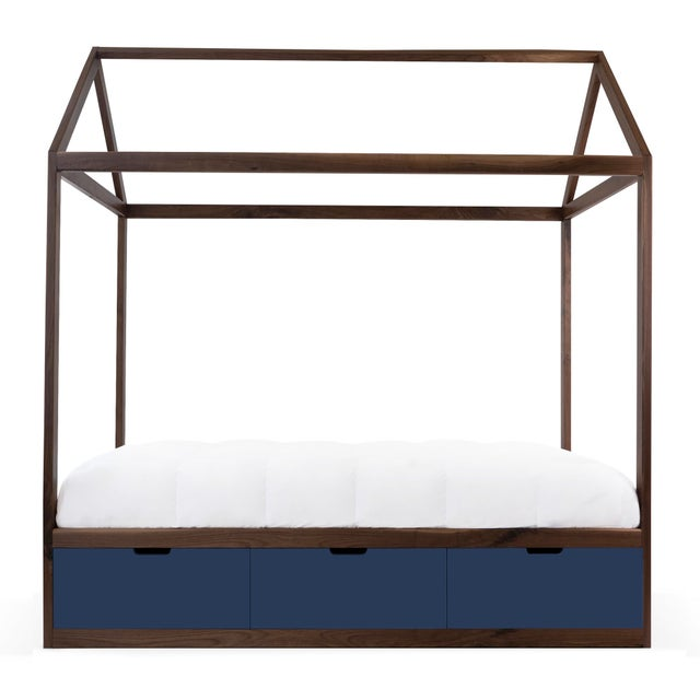 Contemporary Domo Zen Twin Canopy Bed in Walnut With Deep Blue Finish Drawers For Sale - Image 3 of 3