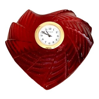 Lalique St. Valentine Red Crystal Heart Paperweight Clock For Sale