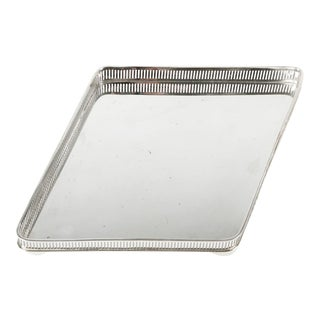English Geometric Shape Plated Footed Vanity Tray For Sale