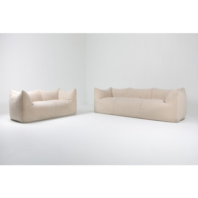 "Mid-Century Modern 1970s Mario Bellini ""Le Bambole"" Two-Seat Couch in Alcantara For Sale - Image 3 of 11"