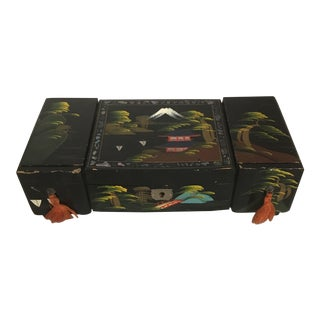 1960's Japanese Hand Decorated Wooden Music Box For Sale