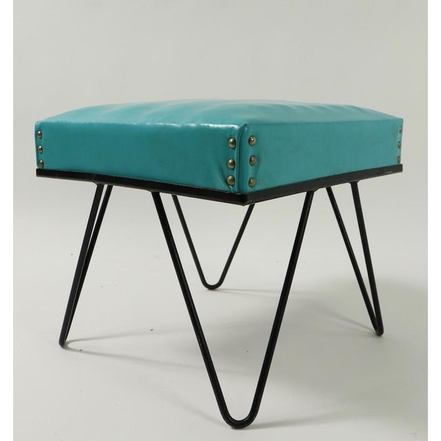 Black Mid Century Hairpin Leg Stool Ottoman For Sale - Image 8 of 12
