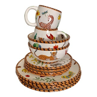 Lynn Chase Jungle Jubilee Hand Painted Colorful Wildlife China Set - 10 Pieces, Without Bowls For Sale