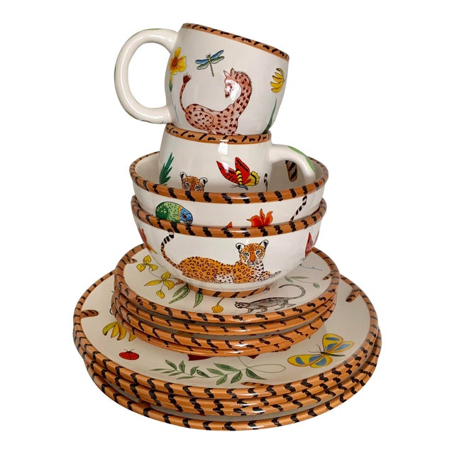 Lynn Chase Jungle Jubilee Hand Painted Colorful Wildlife China Set - 12 Pieces For Sale