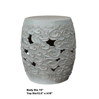 Ceramic Clay Off White Glaze Round Scroll Pattern Garden Stool Preview