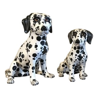 Vintage Italian Ceramic Dalmatian Figurines - a Pair For Sale