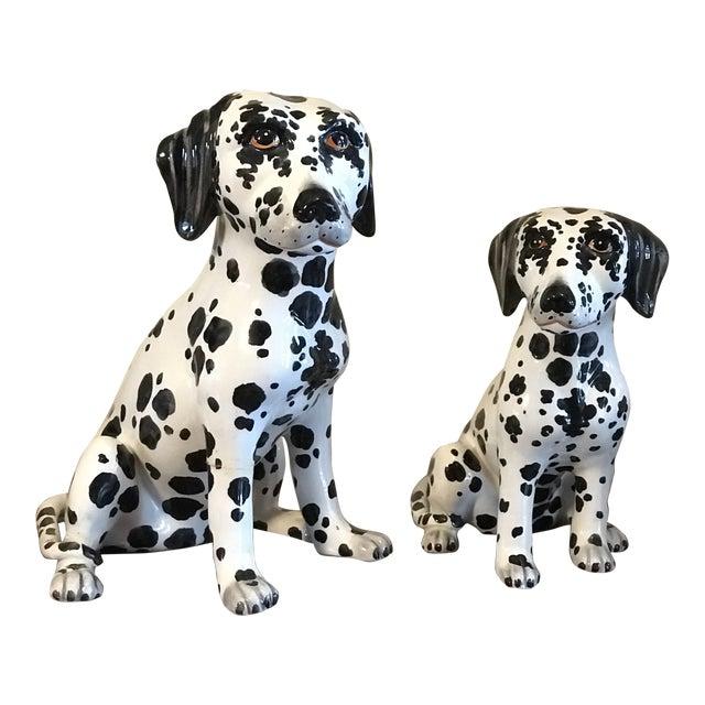 Vintage Italian Ceramic Dalmatian Figurines - a Pair For Sale
