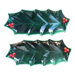Vintage Lefton Holly & Berries Trays - a Pair For Sale