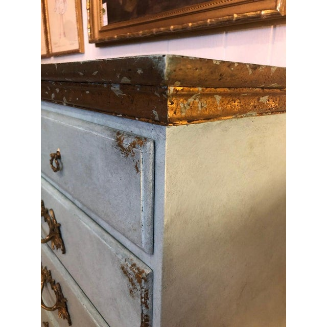 Blue Vintage Blue Faux Painted Large Chest of Drawers Dresser For Sale - Image 8 of 13