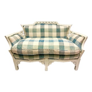 Antique Carved Settee in Check Upholstery