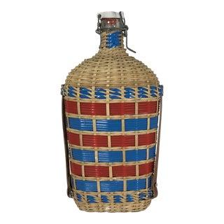 1940s French Wicker Holy Water Bottle