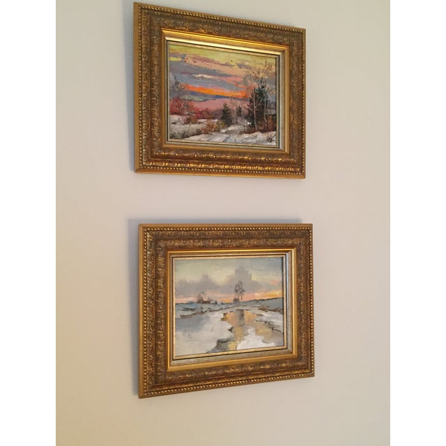 Russian Signed Oil on Canvas Paintings- Set of 2 - Image 2 of 6