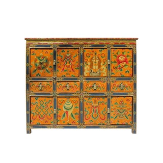 Chinese Tibetan Jewel Flower Graphic Tall Credenza Shoes Cabinet