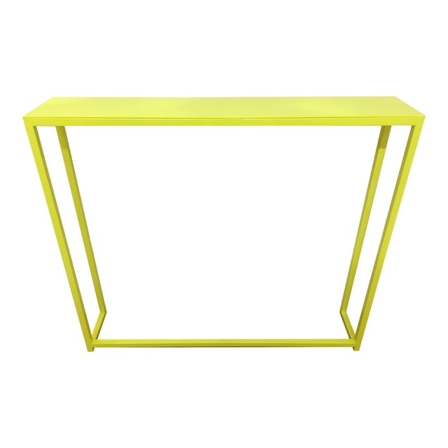 Contemporary Fluorescent Yellow Powder-Coated Metal Console Table For Sale