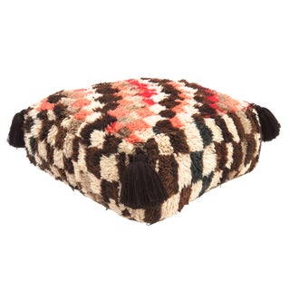 1970s Vintage Moroccan Patterned Pin and Brown Wool Pouf