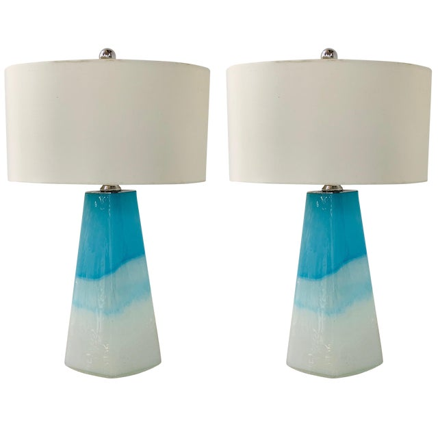 Pair of Modern Colorful Glass Lamps For Sale