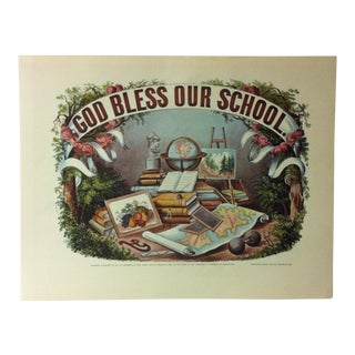 "Currier & Ives American Print, ""God Bless Our School"" by Crown Publishers, Circa 1950 For Sale"
