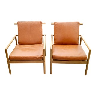 Pair of Oak & Leather Modern Club Chairs