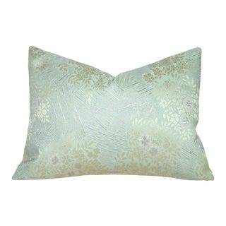 Floral Garden Japanese Silk Obi Lumbar Pillow Cover For Sale
