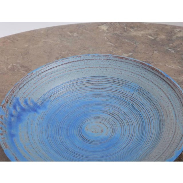 Mid-Century Modern Set of Two Huge Susanne Protzmann Ceramic Bowl and Vase in Blue For Sale - Image 3 of 7